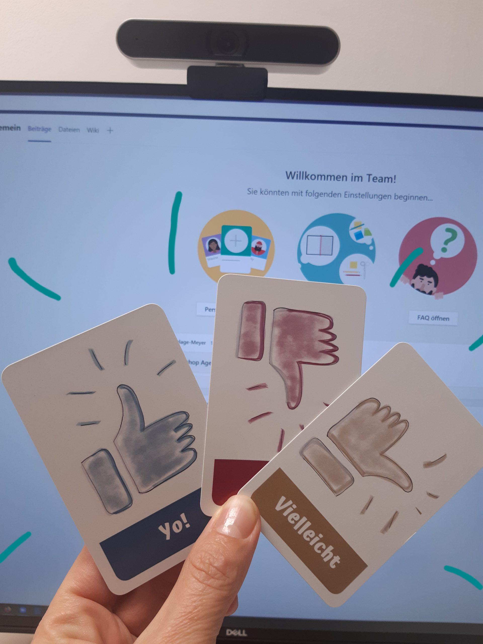 Interaktives Online Meeting schnelle Entscheidungen per Daumenumfrage