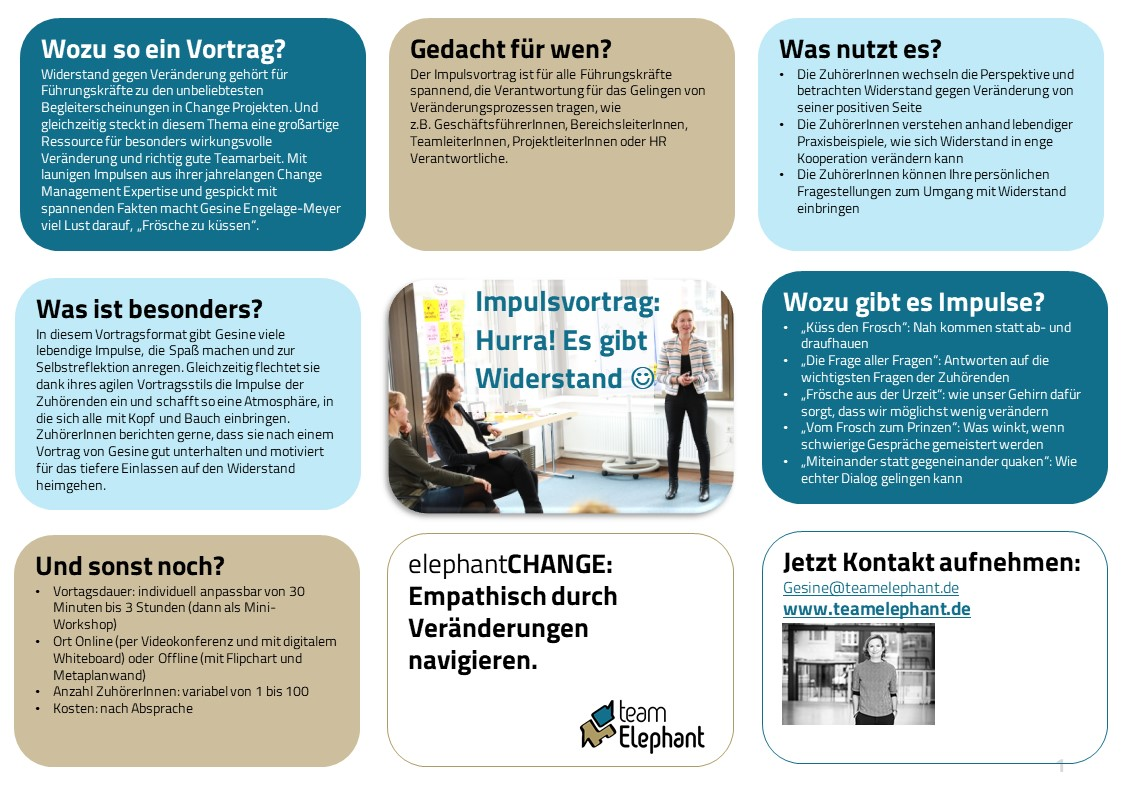 Change Management Impulsvortrag Online Offline Umgang mit Widerstand teamelephant