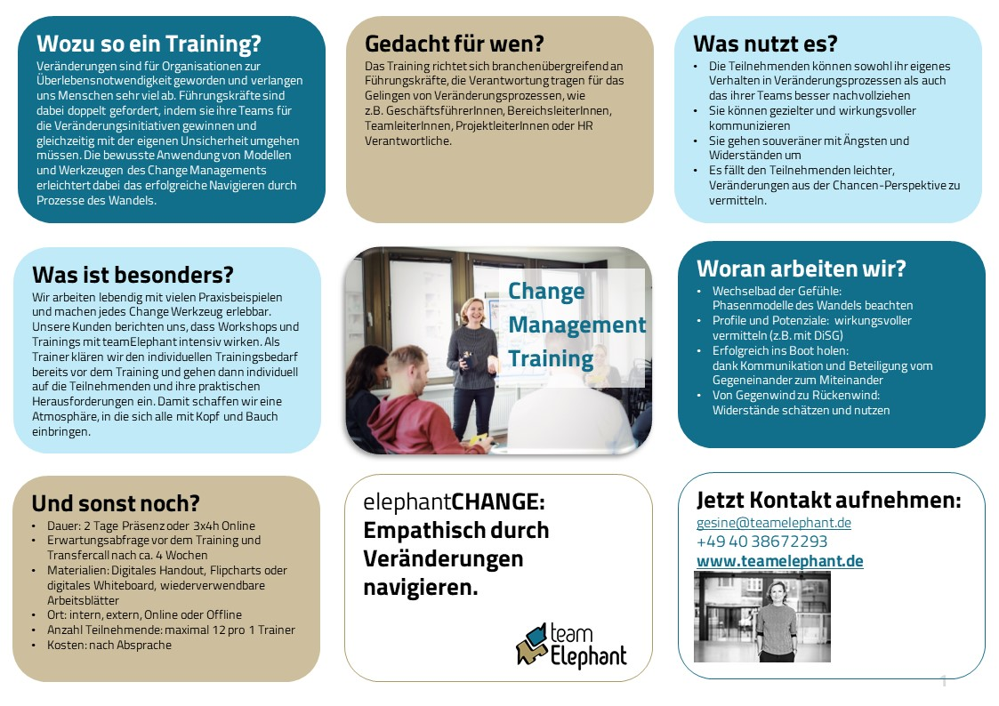 Change Management Training_Online Training oder Offline_Interaktiv_teamElephant_Hamburg_One-Pager