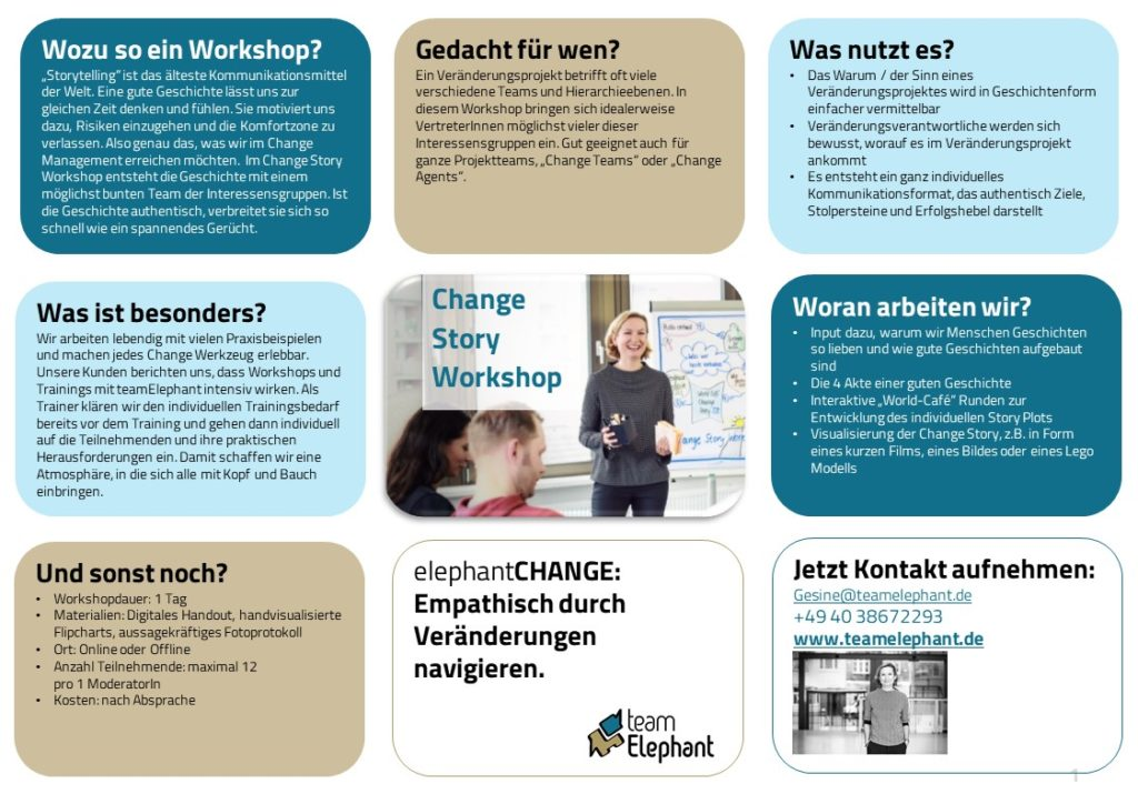 Change Story Workshop teamelephant Online Change Workshop