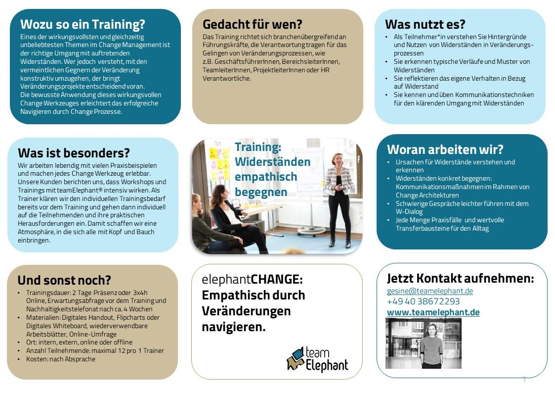 Change Management Training Umgang mit Widerständen interaktives Online Training teamElephant